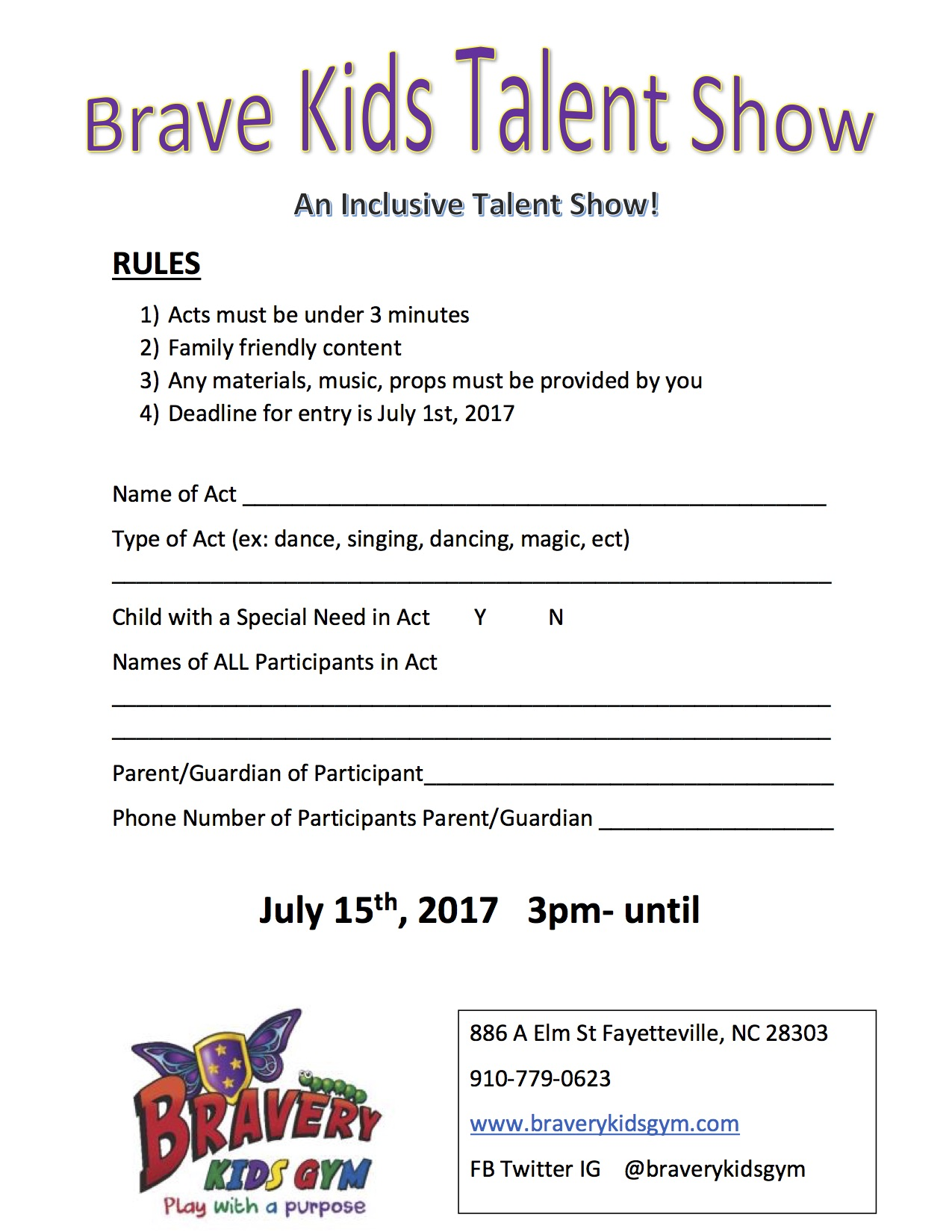 Talent Show Entry Form